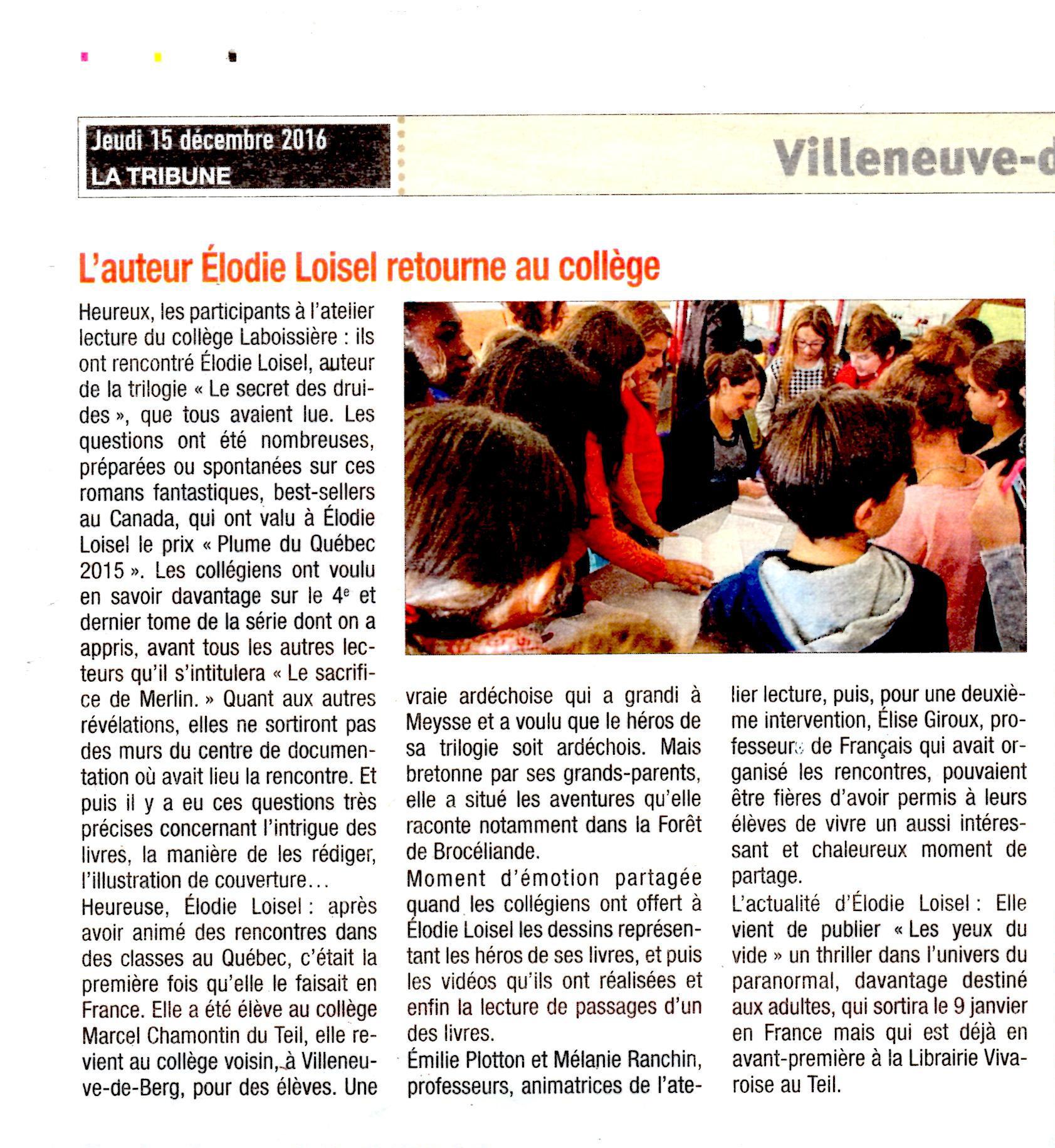 Collège Laboissière Elodie Loisel Auteur