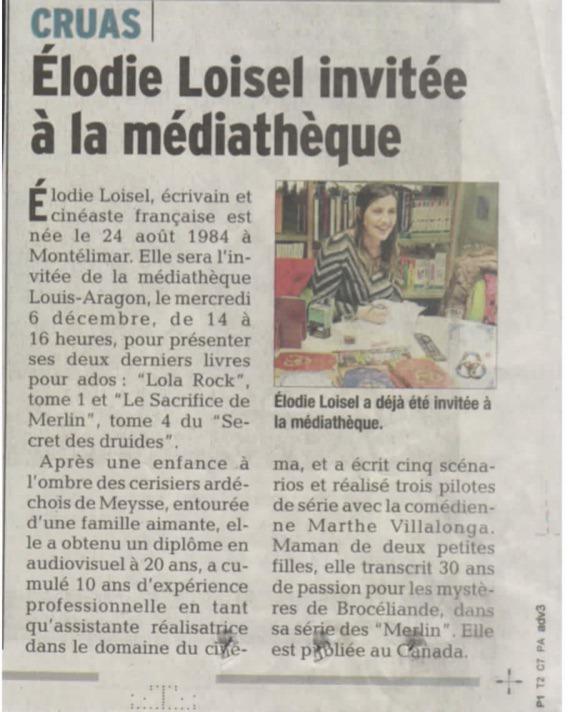 Médiatèque de Cruas article de presse Elodie Loisel Auteur